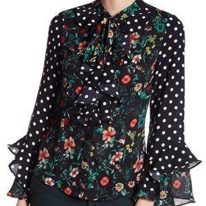 Gracia Floral Polka Dot Print Blouse, Medium